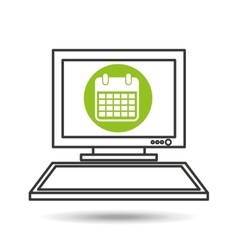 Pc device network calendar media icon vector