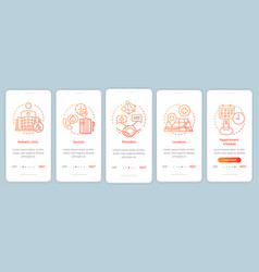 Pediatric clinic onboarding mobile app page vector