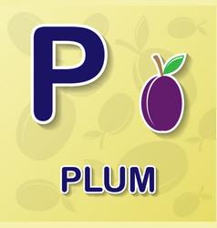 Plum alphabet background vector