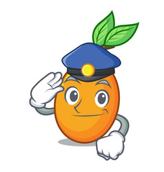police juicy yellow plums with leaves cartoon vector image
