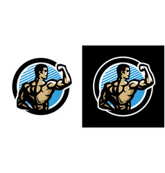 posing athlete bodybuilding and fitness logo vector image