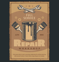 repair workshop or car service card with work tool vector image
