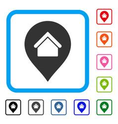 Residence marker framed icon vector