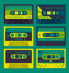 retro audio cassettes set 2 vector image