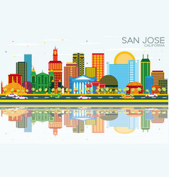 San jose california skyline with color buildings vector