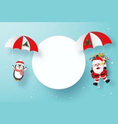 Santa claus and penguin make a parachute jump vector