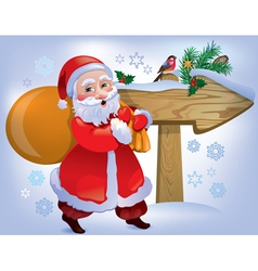Santa Claus wooden sign vector image