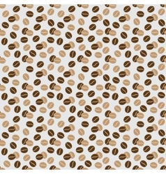 seamless pattern - beige and brown coffee beans vector image