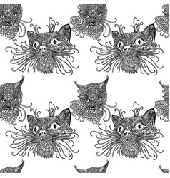 seamless pattern with cute kats cat background in vector image