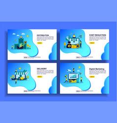 set modern flat design templates for business vector image