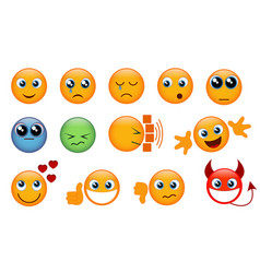 set of yellow emojis vector image