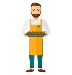 Smiling supermarket worker vector image