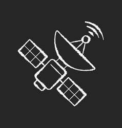 space satellite chalk white icon on black vector image
