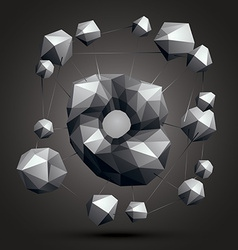 Spatial monochrome object isolated 3d technology vector