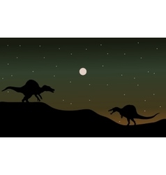 Spinosaurus in hills scenry silhouette vector