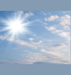 sun light and blue sky with clouds vector image