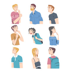 surprised people young men and women looking vector image