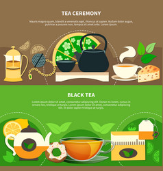 tea horizontal banners vector image