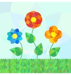 Three geometry mandala flowers on meadow vector
