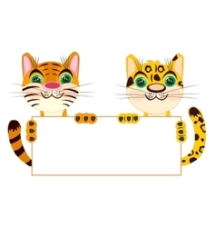 Tiger and leopard with clean sheet of paper vector