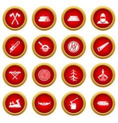 Timber industry icon red circle set vector