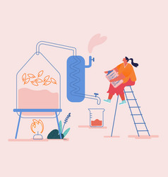 Tiny female character create new recipe distilling vector
