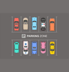 Top view different cars city parking parking z vector