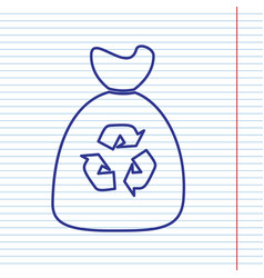 trash bag icon navy line icon on notebook vector image