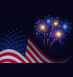 united states flag and golden blue fireworks vector image