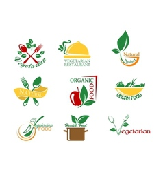 Vegetarian food symbols vector image