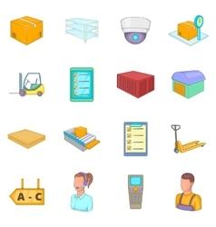Warehouse store icons set cartoon style vector
