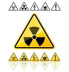 Warning symbols yellow signs vector