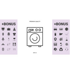 washing machine linear icon - graphic elements for vector image