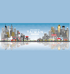 welcome to taiwan city skyline with gray vector image