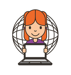 woman cartoon with laptop vector image