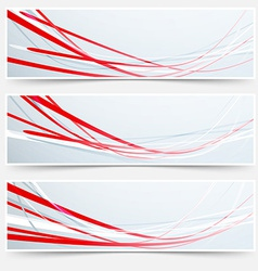 Bright red speed rapid swoosh stream line header vector image