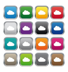Cloud metallic square buttons vector image vector image