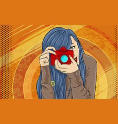 comic book girl pop art photographer vector image vector image