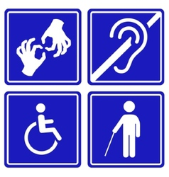 Disabled signs deaf blind mute and wheelchair vector image