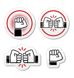Fist fist bump icons set vector image vector image