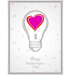 Light bulb with heart valentine Day background vector image vector image