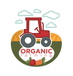 organic farming logo template with agrimotor on vector image