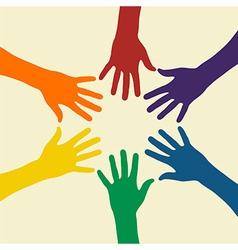 Rainbow hand vector image