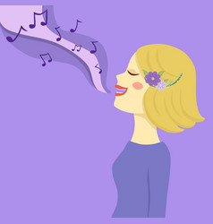 blonde woman sing a song vector image
