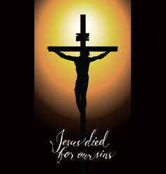 Cross with crucified jesus christ in the sunset vector