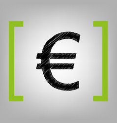 euro sign black scribble icon in citron vector image