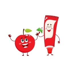 Funny toothpaste and red apple character dental vector image vector image