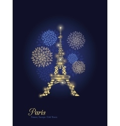 Golden glowing eiffel tower surrounded by vector