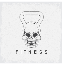 grunge skull in the form of kettlebell fitness vector image vector image