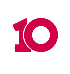 number 10 symbol simple ten text isolated vector image vector image